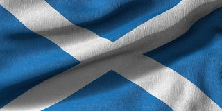 3D rendering of a Scotland flag with fabric texture royalty free illustration