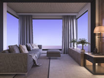 3d rendering sea view in twilight living room Stock Photos