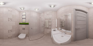 3d rendering seamless panorama of bathroom interior Royalty Free Stock Image
