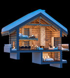 3d rendering section of chalet. 3d rendering section of cozy chalet in snowy mountain. Isolated on black vector illustration