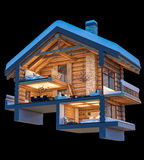 3d rendering section of chalet. 3d rendering section of cozy chalet in snowy mountain. Isolated on black royalty free illustration