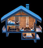 3d rendering section of chalet. 3d rendering section of cozy chalet in snowy mountain. Isolated on black stock illustration