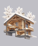 3d rendering section of chalet. 3d rendering section of cozy chalet in snowy mountain. Isolated on gray vector illustration