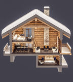 3d rendering section of chalet. 3d rendering section of cozy chalet in snowy mountain. Isolated on gray royalty free illustration