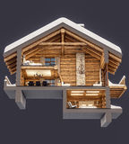 3d rendering section of chalet. 3d rendering section of cozy chalet in snowy mountain. Isolated on gray stock illustration