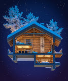 3d rendering section of chalet. 3d rendering section of cozy chalet in snowy mountain. Night sky with many stars background royalty free illustration
