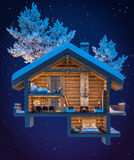 3d rendering section of chalet. 3d rendering section of cozy chalet in snowy mountain. Night sky with many stars background vector illustration