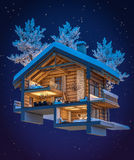 3d rendering section of chalet. 3d rendering section of cozy chalet in snowy mountain. Night sky with many stars background stock illustration