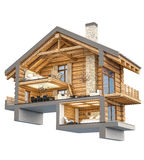 3d rendering section of chalet. 3d rendering section of cozy chalet in spring forest. Isolated on white vector illustration