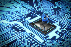 3D rendering of a secure electronic circuit. Very high resolution 3D rendering of an electronic circuit Vector Illustration