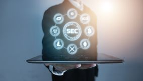3D Rendering of Security Exchange Committee SEC glowing hologram hover over tablet in a palm of business man. royalty free stock photo