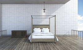 3d rendering semi outdoor bedroom near beautiful sea Royalty Free Stock Images