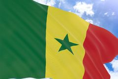 3D rendering of Senegal flag waving on blue sky background royalty free stock image