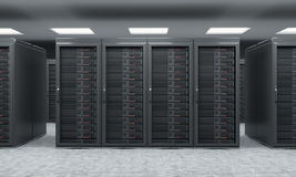 3D rendering of server for data storage, processing and analysis. Rows of machines at work, front view Royalty Free Stock Photography