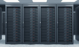 3D rendering of server for data storage, processing and analysis. Rows of machines at work, front view, close Royalty Free Stock Image