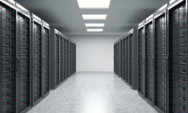 3D rendering of server for data storage, processing and analysis. Two rows of machines at work Stock Photos