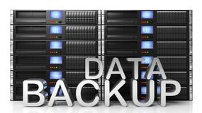 3D rendering of server storage racks with Data Backup text Royalty Free Stock Photography