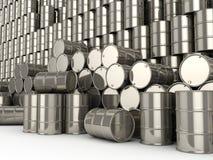 3D rendering Set chrome barrels. 3D rendering Shiny chrome barrels on a white background vector illustration