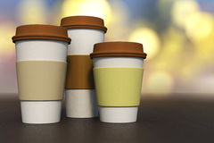 3d rendering of a set of coffee cup various size on a dark woode Royalty Free Stock Images
