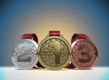 3D rendering Set of Golden, Silver and Bronze Medal with Ribbons Stock Image