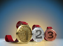 3D rendering Set of Golden, Silver and Bronze Medal with Ribbons Stock Images