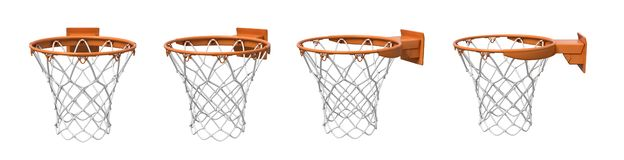 3d rendering of a set made of four basketball baskets with orange loop and fixing bracket. vector illustration