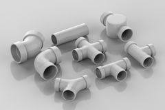 Set of pipe joints. 3d rendering set of pipe joints on grey background Royalty Free Stock Photo