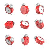 3d rendering of set of red vintage alarm clock with double metal bells   Stock Photos
