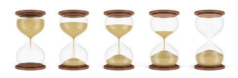 3d rendering of a set of several hourglasses standing in one row with the sand in different stages of falling down. Lifetime decisions. Countdown. Start and royalty free illustration