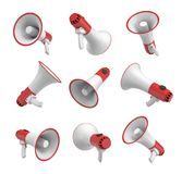 3d rendering of a set of several white and red megaphones in different angles on white background. Royalty Free Stock Photos