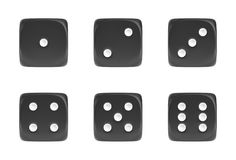 3d rendering of a set of six black dice in front view with white dots showing different numbers. Stock Image