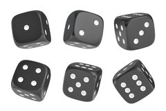 3d rendering of a set of six black dice with white dots hanging in half turn showing different numbers. Royalty Free Stock Photo