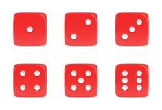 3d rendering of a set of six red dice in front view with white dots showing different numbers. Stock Photos
