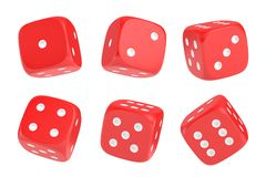 3d rendering of a set of six red dice with white dots hanging in half turn showing different numbers. Lucky dice. Board games. Money bets Stock Photo