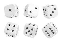 3d rendering of a set of six white dice with black dots hanging in half turn showing different numbers. Lucky dice. Board games. Money bets Royalty Free Stock Photos