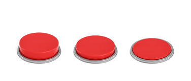 3d rendering of a set of three red round buttons  Royalty Free Stock Photo