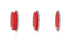 3d rendering of a set of three red round buttons in different stages of being pushed down. Machine controls. Red switch. Security button Royalty Free Stock Photography