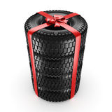 3D rendering set of tires Royalty Free Stock Images