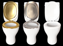 3D rendering a set of a toilet bowl with colors gold, chrome, an. D white  on black background Royalty Free Stock Photo