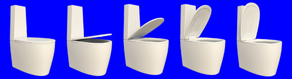 3d rendering of a set of toilet seat isolated on a blue Stock Images