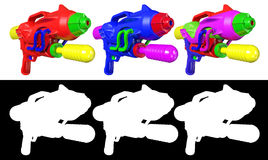 3D rendering a set of Water gun  on white background Stock Images