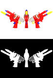 3D rendering a set of Water gun  on white background Royalty Free Stock Images