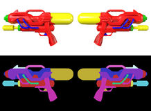 3D rendering a set of Water gun  on white background. Stock Photo