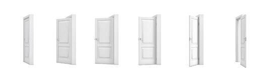 3d rendering set of white wooden doors in different stages of opening. Entrance and doorways. Indoor interior. Closed and open way royalty free illustration