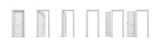 3d rendering set of white wooden doors in different stages of opening. Entrance and doorways. Indoor interior. Closed and open way vector illustration