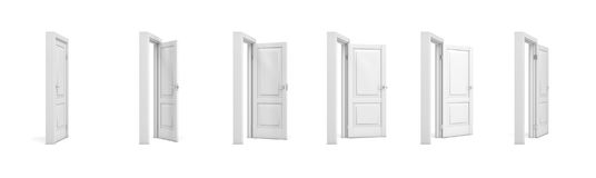 3d rendering set of white wooden doors in different stages of opening. Entrance and doorways. Indoor interior. Closed and open way stock illustration