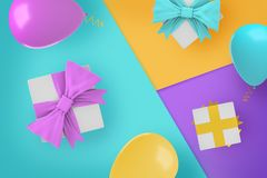 3d rendering of a several gift boxes and party balloons of contract colors on contrast background sections. Party and gifts. Choosing best gift combination royalty free stock image