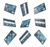 3d rendering of several identical generic credit cards shown in various angle in one set. Stock Photos
