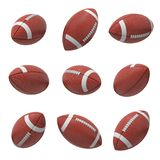 3d rendering of several oval American football ball hanging on a white background and shown from different sides.