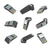 3d rendering of several randomly placed payment terminals on white background. Sales and payment. Money transactions. Revenue Stock Photography